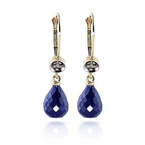 6.63CT Diamant naturel Pierre précieuse de saphir bleu Boucles d'oreilles clous Or jaune massif 14K véritable pour