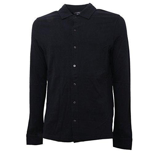 B2738 polo uomo BALLANTYNE manica lunga nera t-shirt man [M]