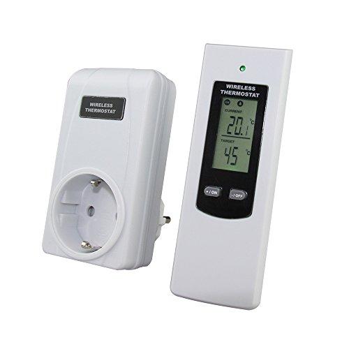RF433.92MHz Wireless Fernbedienung Thermostat Plug-in Remote-Buchse mit großen LCD-Display Elektrische Heizung und Kühlung Temperaturregler