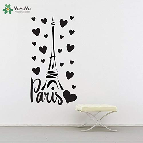 zhuziji Hot Wandtattoo Paris Frankreich Turm Liebe Herz Design Dekoration Wandaufkleber Vinyl Für Schlafzimmer Modernes Design 30x57 cm