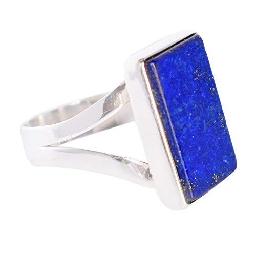 Sehr schöner natürlicher blauer Lapislazuli Edelstein Verstellbarer Ring 925 massiver Sterling Silber Ring Herrenring FSJ-3926