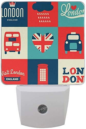 2er Pack London Bus Union Jack LED Nachtlicht D?mmerung bis Morgend?mmerung Sensor Plug in Nacht Home Decor Schreibtischlampe für Erwachsene -