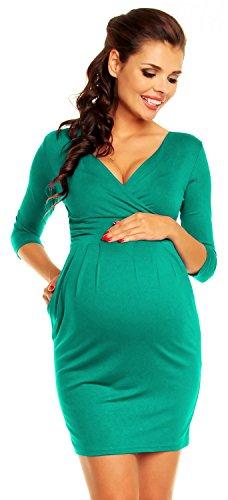 Zeta Ville - maternité robe de grossesse à taille froncée M-3XL - femme - 236c Sarcelle