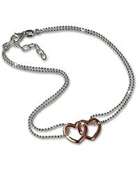 SilberDream Chaine de Cheville - Double Coeur - Or Rose et Argent 925 - Bracelet de cheville - Bijoux Pied SDF0263T