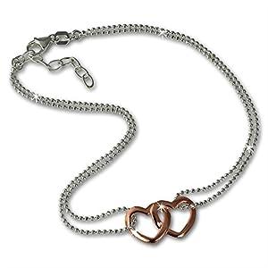 SilberDream 23-26cm Fußkette Damen rosevergoldet 2X Herz Echt Silber D1SDF0263T