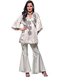 White Sharara Pants , Material- Versace Crepe, Color- White.