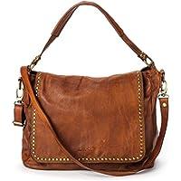 Ira del Valle, Borsa Donna, In Vera Pelle Borchiata Vintage, Made in Italy, Modello Arizona Bag, Borsa Grande a Mano e Spalla con Tracolla da Donna Ragazza