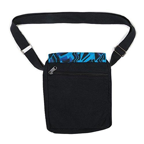 Kunst und Magie Alternative Damenhandtasche / Schultertasche Goa Psy 70er Retro Design Schwarz / Blau