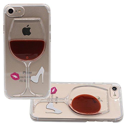 """Apple iPhone 7 Plus Hülle 5.5"""", Hübsch Exquisit 3D Klein Kelch Weinglas Aussehen Flüssigkeit Wasser Case Schwer Transparent Cover Color-1"""