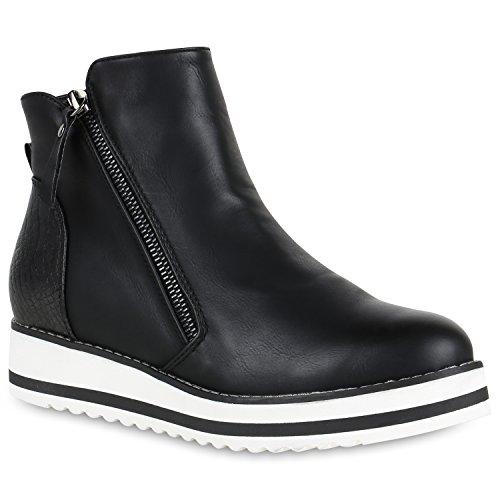 Damen Schuhe Stiefeletten Gefütterte Metallic Plateau Boots Wedges Zipper 147613 Schwarz Brito 38 Flandell