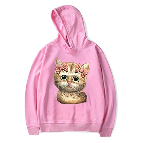 GOKOMO katzendruck Pullover Langarm Kurz Hoodie Sweatshirt Pullover Tops Langarmshirt Teenager Mädchen Bauchfrei Kapuzenpullover Gedruckt(Rosa-b,XXXX-Large) (Billig Nuttig Kostüm)