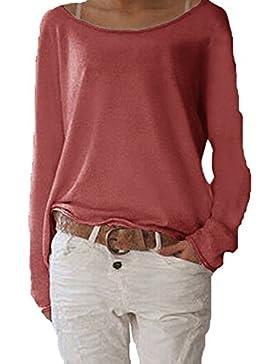 Jevvia Damen Langarm T-shirt Rundhals Ausschnitt Lose Bluse Hemd Pullover Oversize Sweatshirt Oberteil Tops