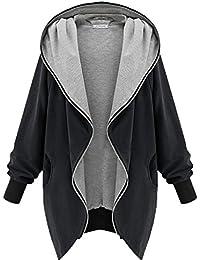 Femme Veste à Capuche Manches Longues Grande Taille Chaud Zipper Outerwear Casual Juleya Noir/Armée Vert XS-5XL