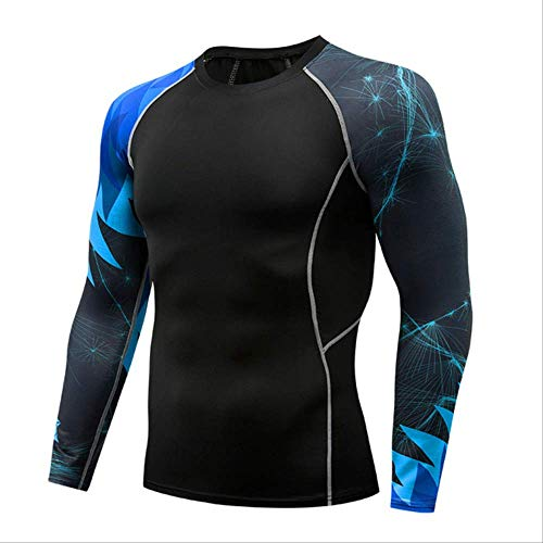 Männer Komprimiert 3D Blume Arm Langarm Fitness Körper Männer Crossfit T-Shirt Strumpfhosen Marke Clothin M -