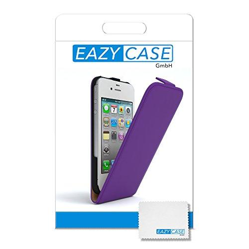 Apple iPhone 4 / 4S, EAZY CASE Premium Flip Case Handyhülle Schutzhülle als Klapphülle, Wallet Cover, Etui, Smartphone Tasche in Rot Lila