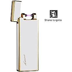 encendedor electrico,VVAY mechero electrico arco usb,mechero recargable de plasma sin llama (Blanco)