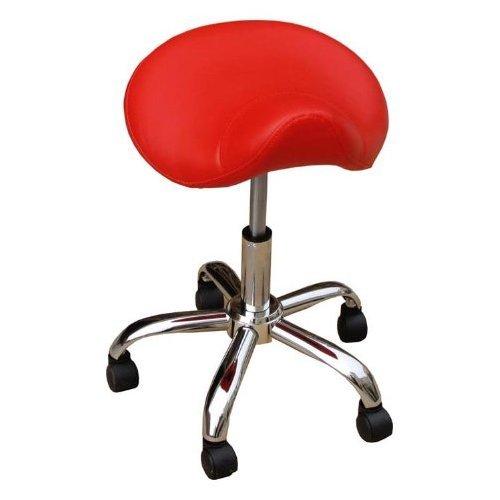 Eyepower Tabouret Rouge Hauteur d'assise réglable en continu de env. 43–58cm, pratique Tabouret Tabouret selle à roulettes Tabouret pivotant Tabouret de travail Tabouret rotatif
