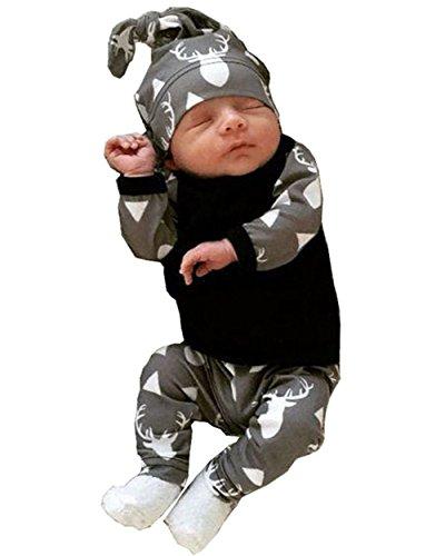 towear 3pcs bambino ragazze cervo stampato color block Camicia Pantaloni Cappello vestiti Set Grey 6-12 Mesi