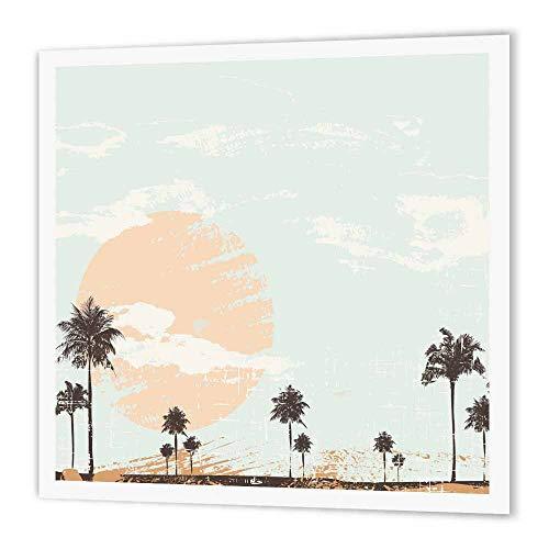 3dRose HT 152275_ 1großen Sonnenuntergang mit Palmen Eisen auf Wärmeübertragung für weiß Material, 8by 20,3cm