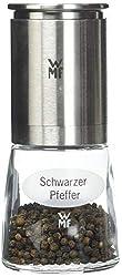 WMF De Luxe Pfeffermühle, befüllt, Cromargan Edelstahl Glas, Keramikmahlwerk, Mühle für Salz, Pfeffer, Chillischoten, H 14 cm