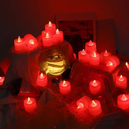Lote de 24sin llama vela Led Light, techken parpadeante sin llama luz brillante de té plástico velas alimentación por batería, rojo