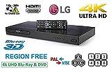 LG 4K Ultra HD Region Free Blu-ray Player DVD Player UP870, Multi region 110-240 volts | Dynastar 6FT HDMI cable