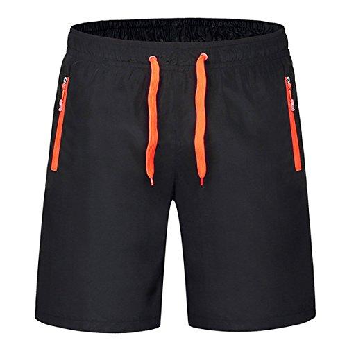 HITOP Herren Schnelles Trocknen Kordelzug Reißverschlusstasche Badehose Badeshorts Die asiatische Größe schwarz+orange