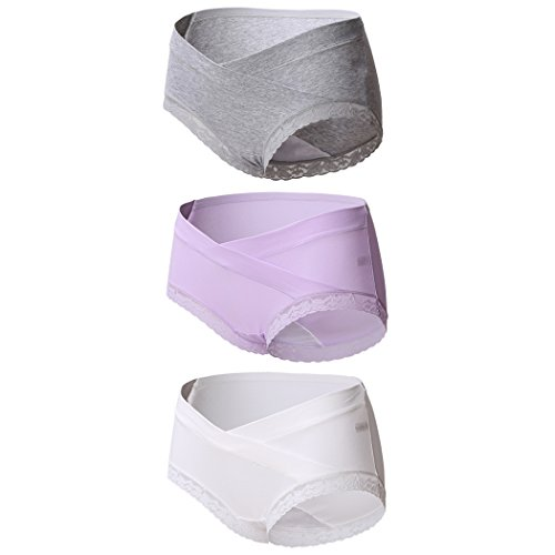 Maternity Panties Knickers, Topwhere® Women's Cotton Briefs Lace Pregnancy Underwear Pants (XXL, Grey+Purple+White/3Pack)