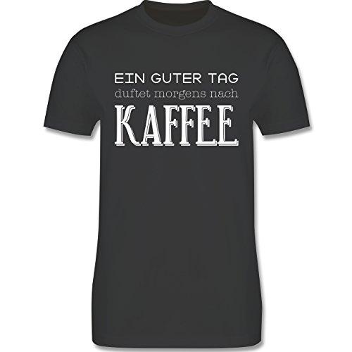 Küche - Ein guter Tag duftet morgens nach Kaffee - Herren Premium T-Shirt Dunkelgrau
