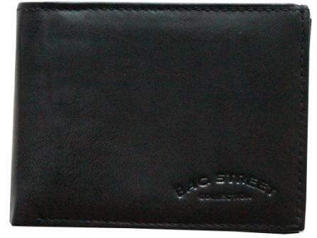 Portafoglio da uomo, in pelle, con portamonete.Formato orizzontale, Nero (nero), 39 1/3 EU
