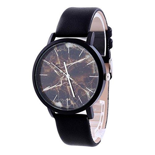 Relojes Unisex,Xinan Relojes Reloj Pulsera Cuero Cuarzo PU Acero Inoxidable (A)