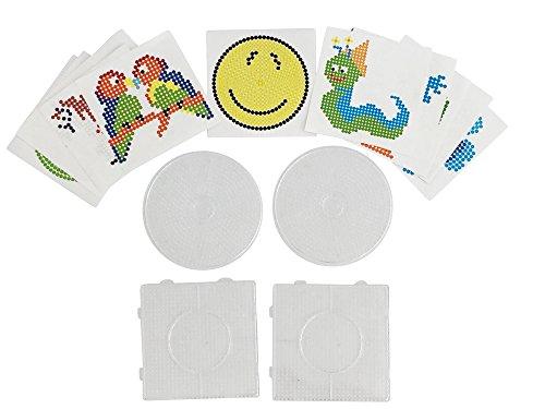 EAST-WEST Trading GmbH 4 Stück, Bügelperlen Stiftplatten, Steckplatten + 12 farbige Vorlagen, 2 x rund und 2 x eckig, Einzelgröße 14,5 x 14,5 cm und 15,0 cm Durchmesser -