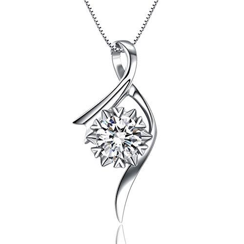 KnSam Halskette Gold Damen Gold Halskette Damen Echt Gold 18 K Weiß Gold 0.04 Karat Diamant Streamer Blume Schneeflocke Silber-0.05Ct Halskette Nur Anhänger