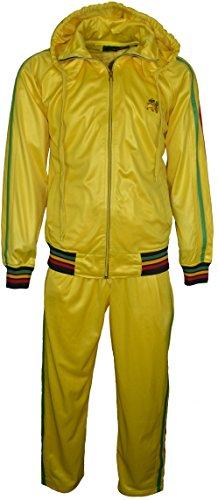 Nuova tuta Rasta Leone di Giuda Set da ricamo sulla parte anteriore a maniche lunghe con cappuccio e zip vita elasticizzata pantaloni Yellow