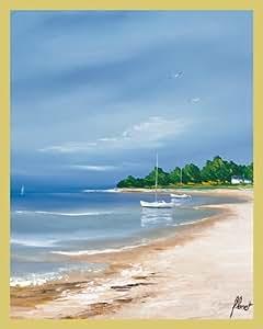Bild mit Rahmen Frederic Flanet - Plage bretonne - Holz gold, 40 x 50cm - Premiumqualität - , Meeresbrise, Landschaften, Natur, Meer, Strand, Boote, Häuser, Bretagne, Frankreich, Atl.. - MADE IN GERMANY - ART-GALERIE-SHOPde