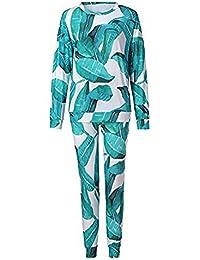 Mxjeeio Conjunto De Chándal De Piezas Estampado Floral De Invierno Otoño Manga Larga Slim Fit Conjuntos de pantalón de Traje de salón para Mujer Talla Grande Blusa 1PC + Pantalones 1PC