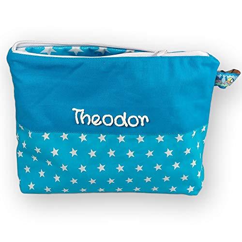 Waschtasche Sterne mit Namen - Waschbeutel für Kinder - Kulturbeutel aus Baumwolle personalisiert, MN_Farbe:türkis