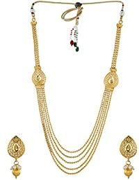 Anuradha Art Golden Finish Classy Embedded With Designer Stylish Traditional Long Necklace Set For Women