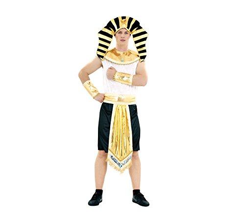 Disfraz de Rey Egipcio para hombre. Talla M-L = 52/54. Incluye tocado, cuello, cinturón, mono y puños. Perfecto para disfrazarte de Faraón para hombre.