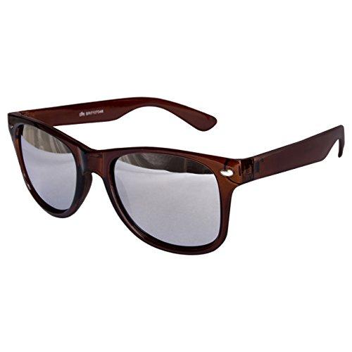 Ciffre EL-Sunprotect® Sonnenbrille Nerdbrille Brille Nerd Silber Voll Verspiegelt Braun UV400