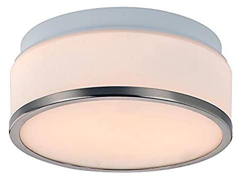Satin Chrome & Opal Glass 2 x 60watt Stylish 23cm