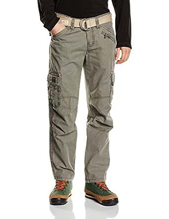 Timezone Herren Cargo Hose BenitoTZ pants incl. belt, Gr. 44 (Herstellergröße: 29/32), Grün (dusty olive 4175)