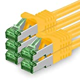 1aTTack.de 624143 Cat.7 Netzwerkkabel 0,5m Gelb - 5 Stück - Cat7 Ethernetkabel PoE+ LAN Kabel Rohkabel 10 Gb/s (S-FTP PIMF) Set Patchkabel mit Rj 45 Stecker Cat.6a 5 x 0,5 Meter Gelb