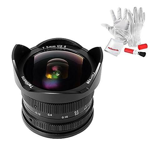 7artisans 7.5mm F2.8 APS-C Fisheye Manuelle Objective für Sony E-mount Kamera A6300 A6500 A6000 A58 mit Pergear Reinigung