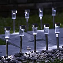 GloBrite 10 Pack x Solar Garden Stake Lights for The Garden, Stainless Steel Post Waterproof LED Outdoor