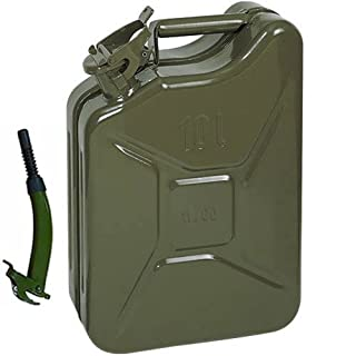 Opticare 10 Litre Green Metal Jerry Can With Flexible Spout (UN Approved, GS/TUV Certification)