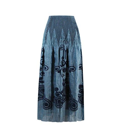 Dissa Damen 50er Retro Cocktail Vintage Rockabilly Kleid,Blau 1326-Blau