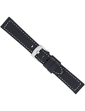 Uhrenarmband Ersatzband Leder Band Schwarz 26598S, Stegbreite:26mm