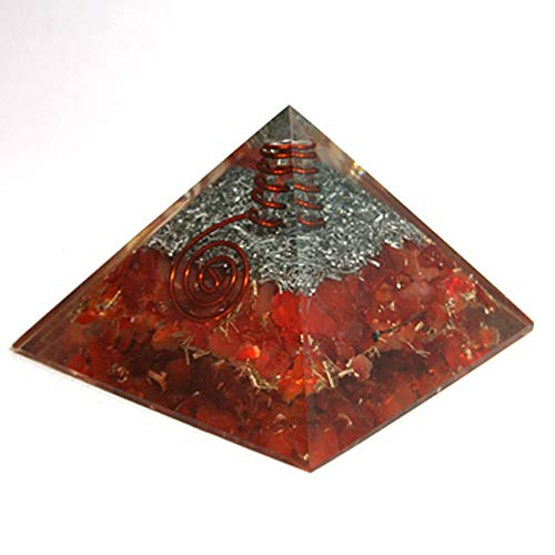 Reiki Crystal Products Natural Carnelian Orgone Pyramid 40-45 mm Approx for Reiki Healing, Crystal Healing and Vastu Correction Orgonite Pyramid