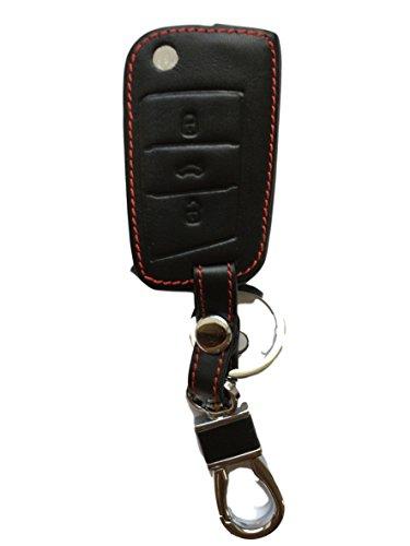 MAINT-Lederetuis Schlüsseltasche Hülle Etui Leder – Schutz & Schlüsselanhänger Ersatz - Schlüssel Cover – für Polo Facelift Golf 7 MK7 7er Touran ab 2015 Passat B8 Tiguan 2 ab 2016 – Neueste Modelle